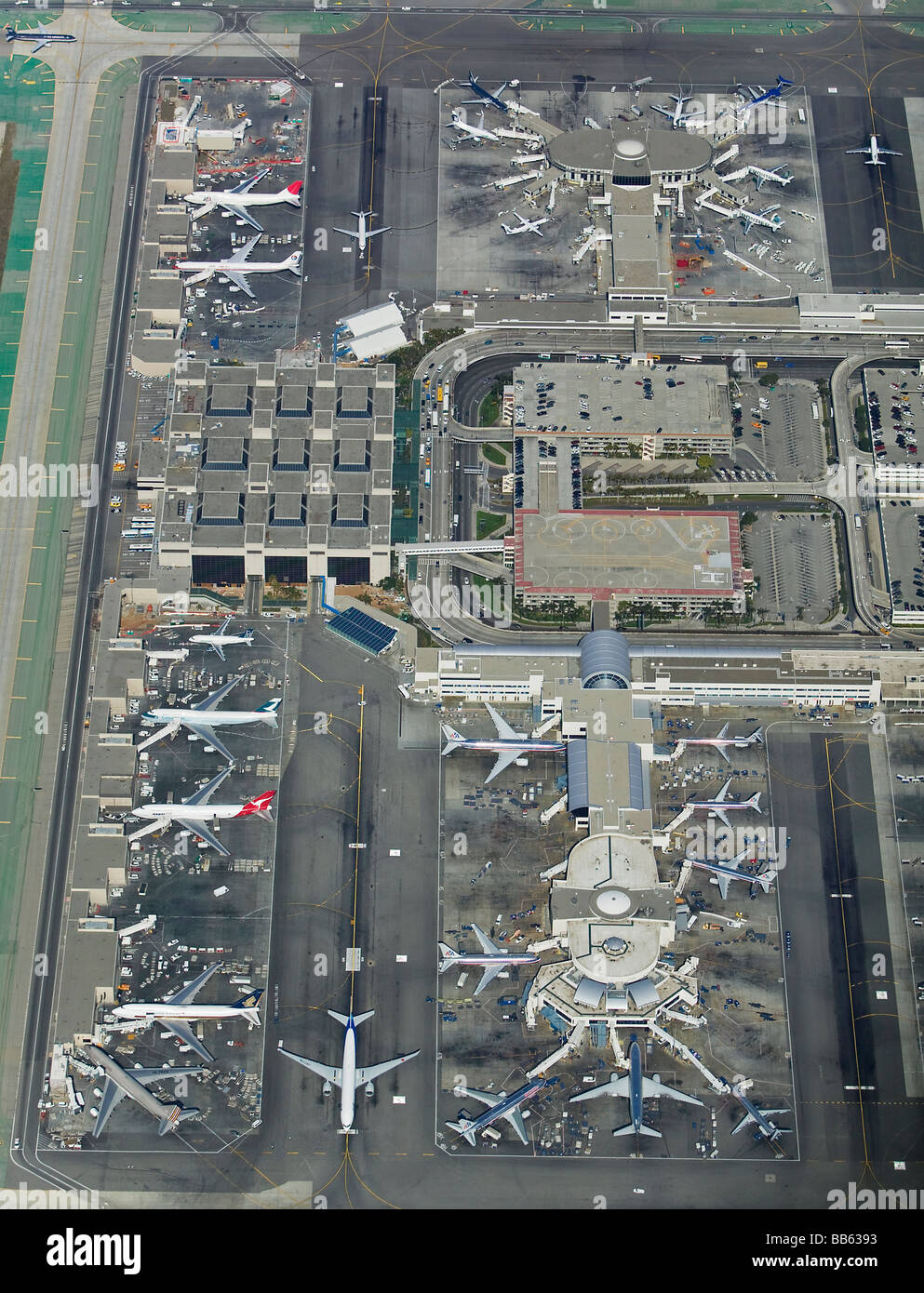 aerial view above Los Angeles International Airport LAX California - Stock Image