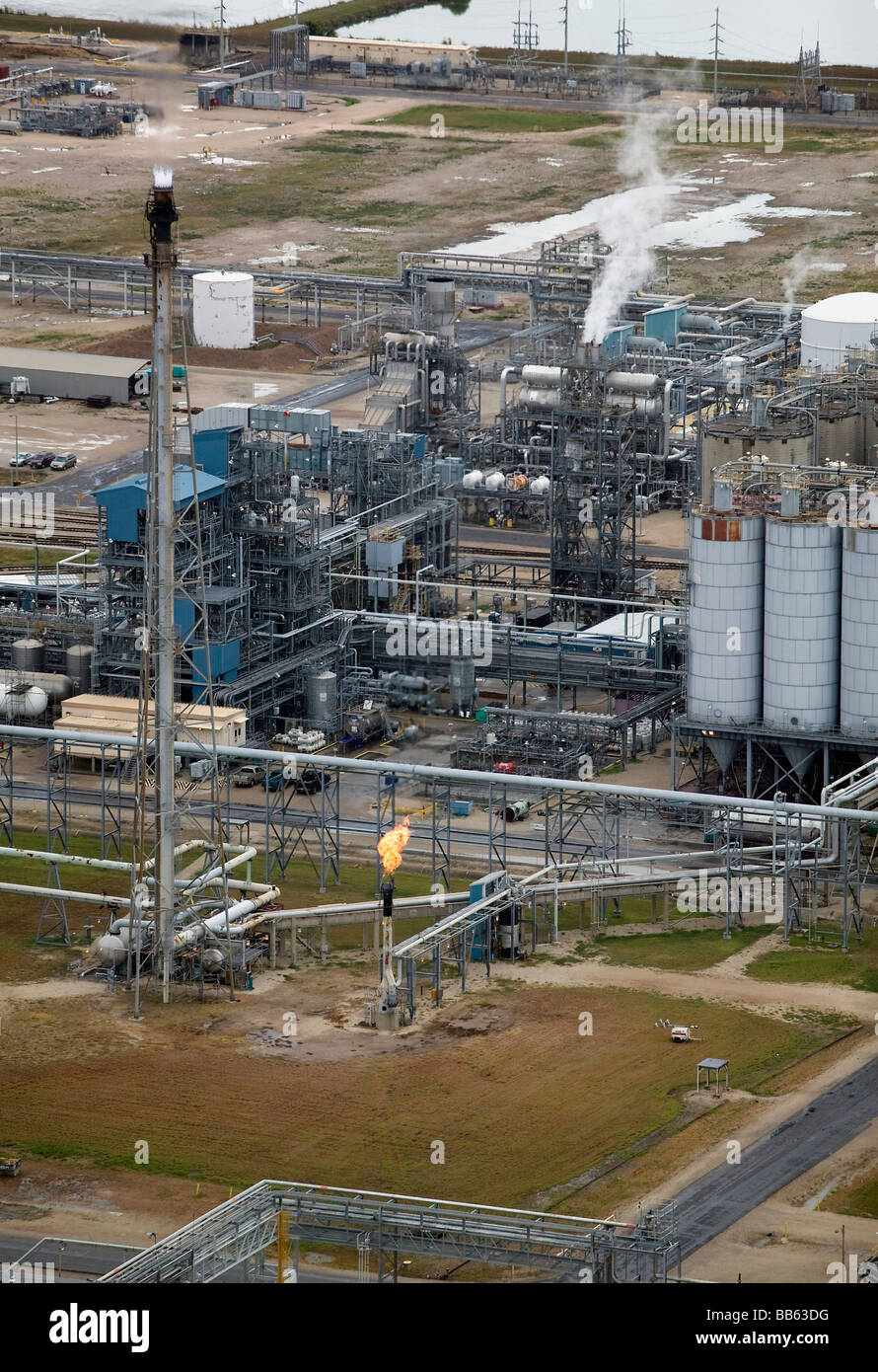 aerial view above Texas Gulf Coast refinery - Stock Image