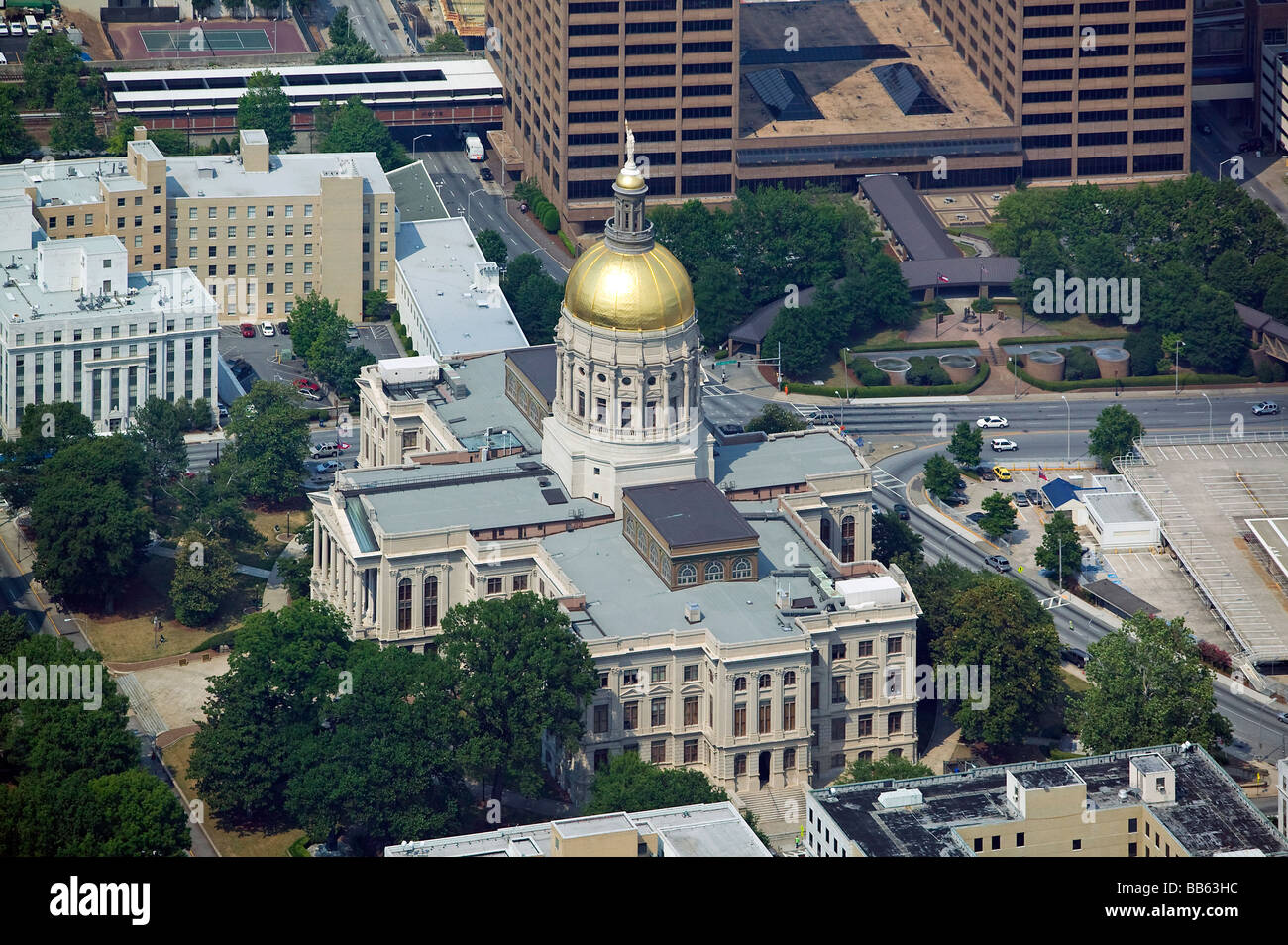 aerial view above Georgia state capitol building Atlanta - Stock Image