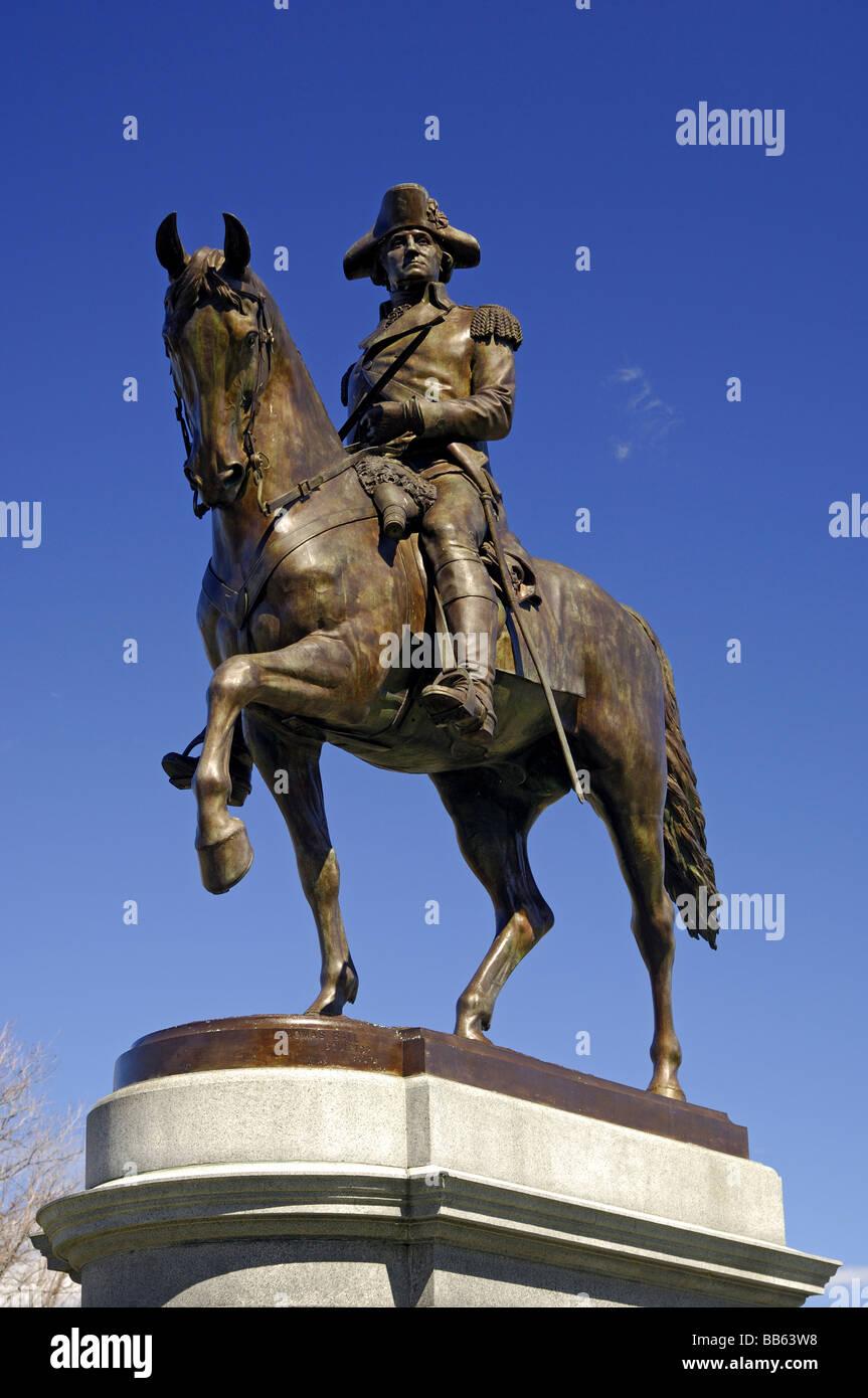 Equestrian statue of George Washington in the Boston Public Garden, Boston Ma, Massachusetts, USA - Stock Image