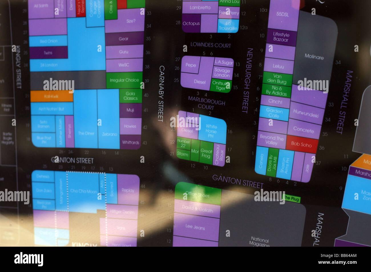 Carnaby Street Map Illuminated street map Carnaby Street London UK Stock Photo