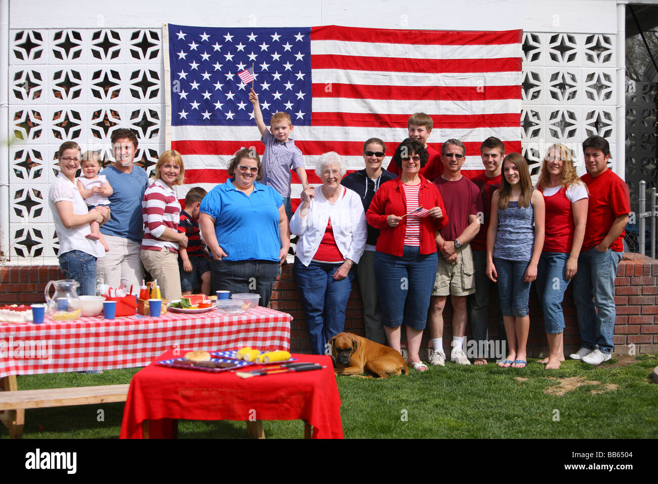 Large family group portrait at 4th of July Barbecue - Stock Image
