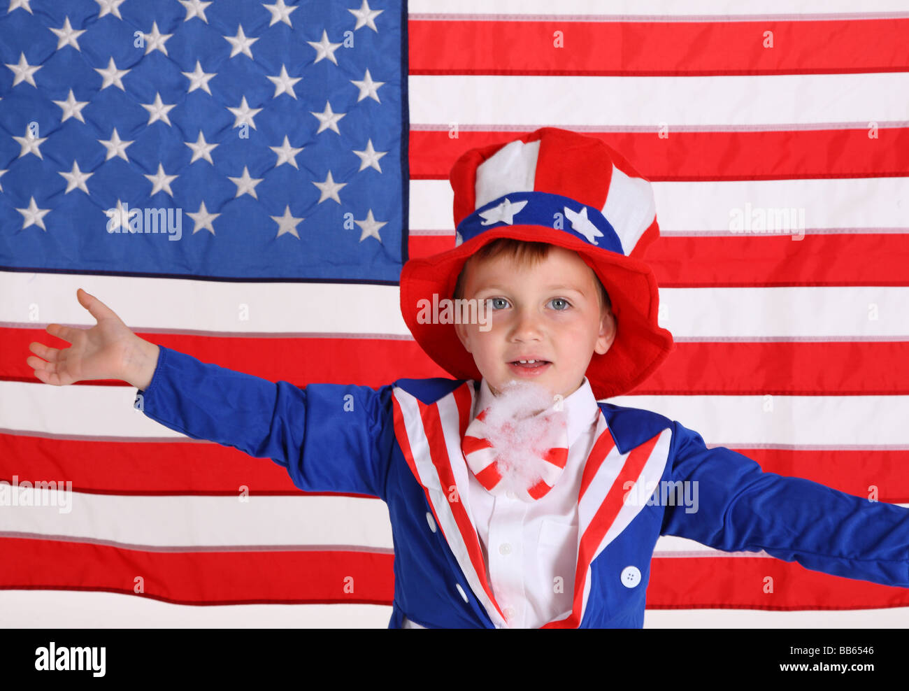 Young boy dressed up like Uncle Sam - Stock Image