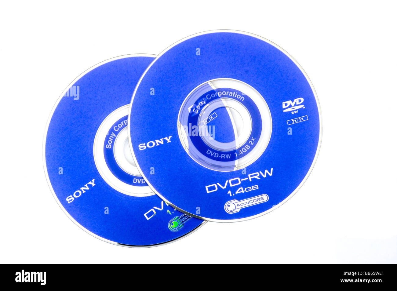 2 Sony Re Recordable DVD RWs - Stock Image