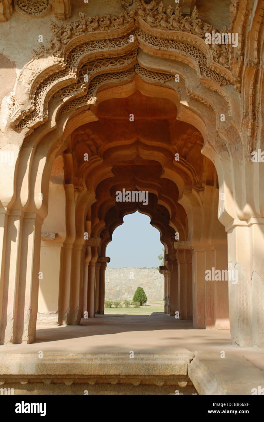 Hampi - Karnataka - Lotus Mahal View of the recessed & foliated arches. - Stock Image