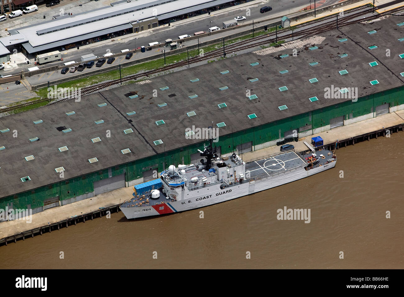 aerial view above docked united states coast guard uscg vessel mississippi river new orleans