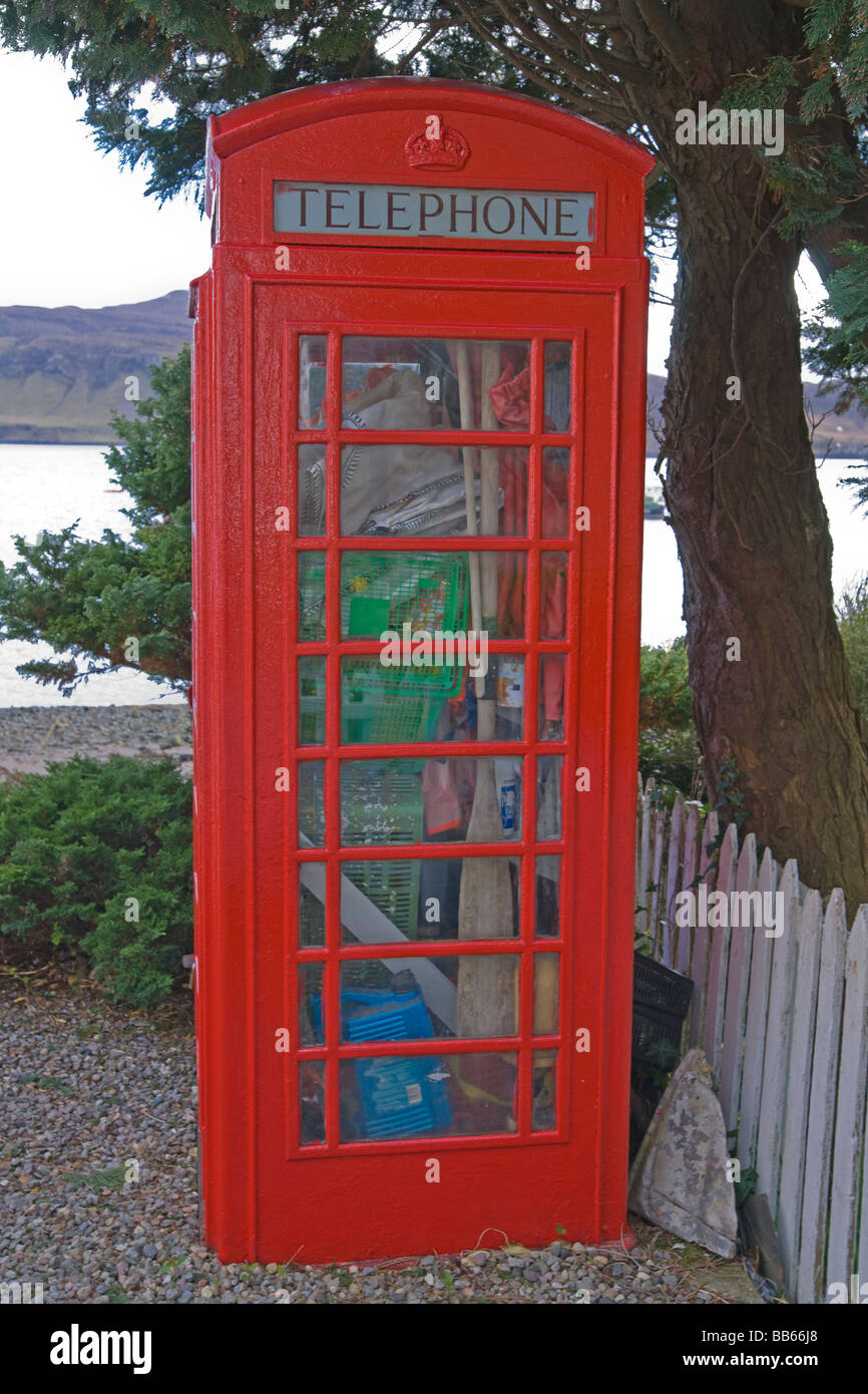 Humerous telephone box Portree Skye Highland region Scotland April 2009 - Stock Image