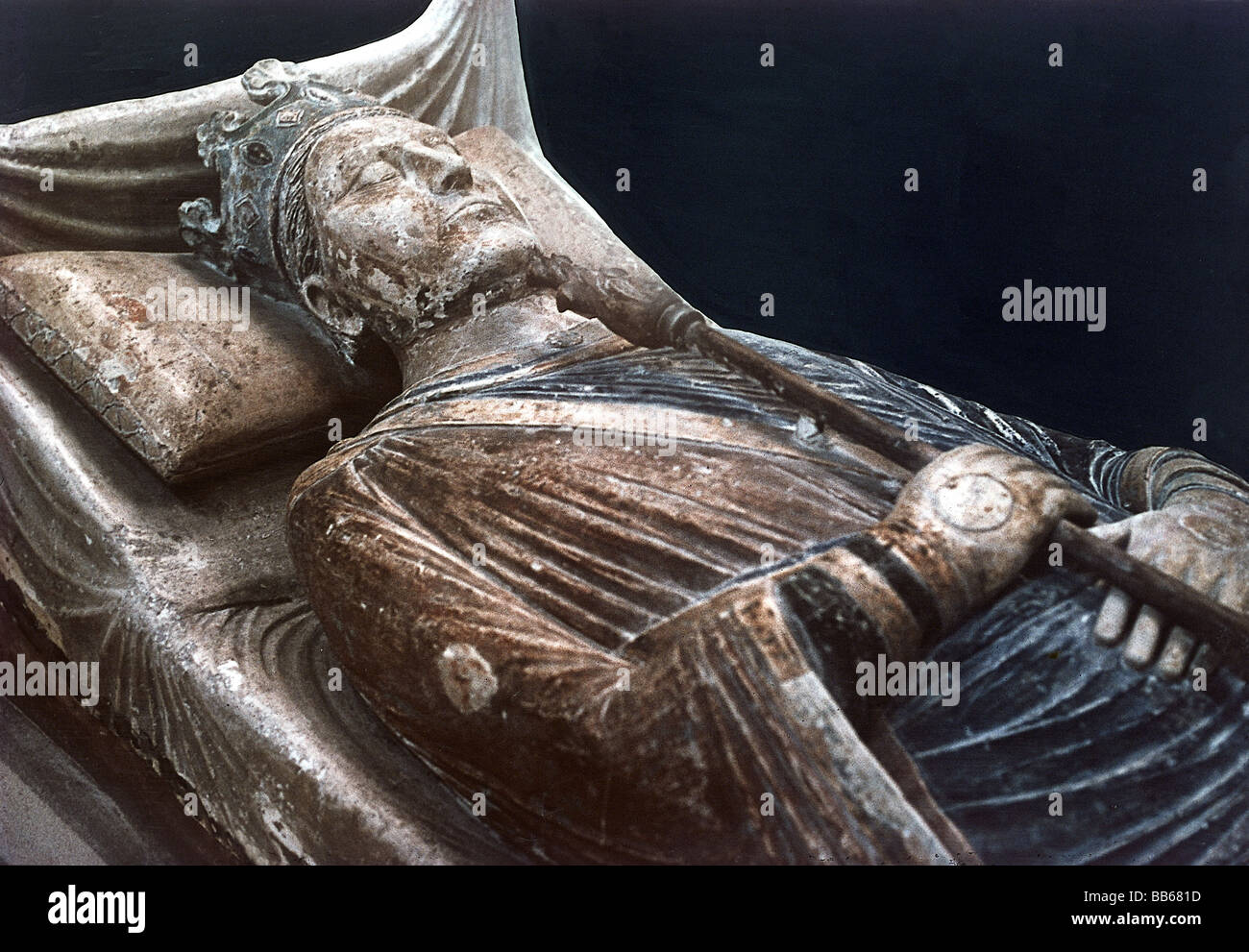 Henry II, 5.3.1133 - 6.7.1189, King of England 1154 - 1189, half length, tomb, Fontevrault, Additional-Rights-Clearances - Stock Image