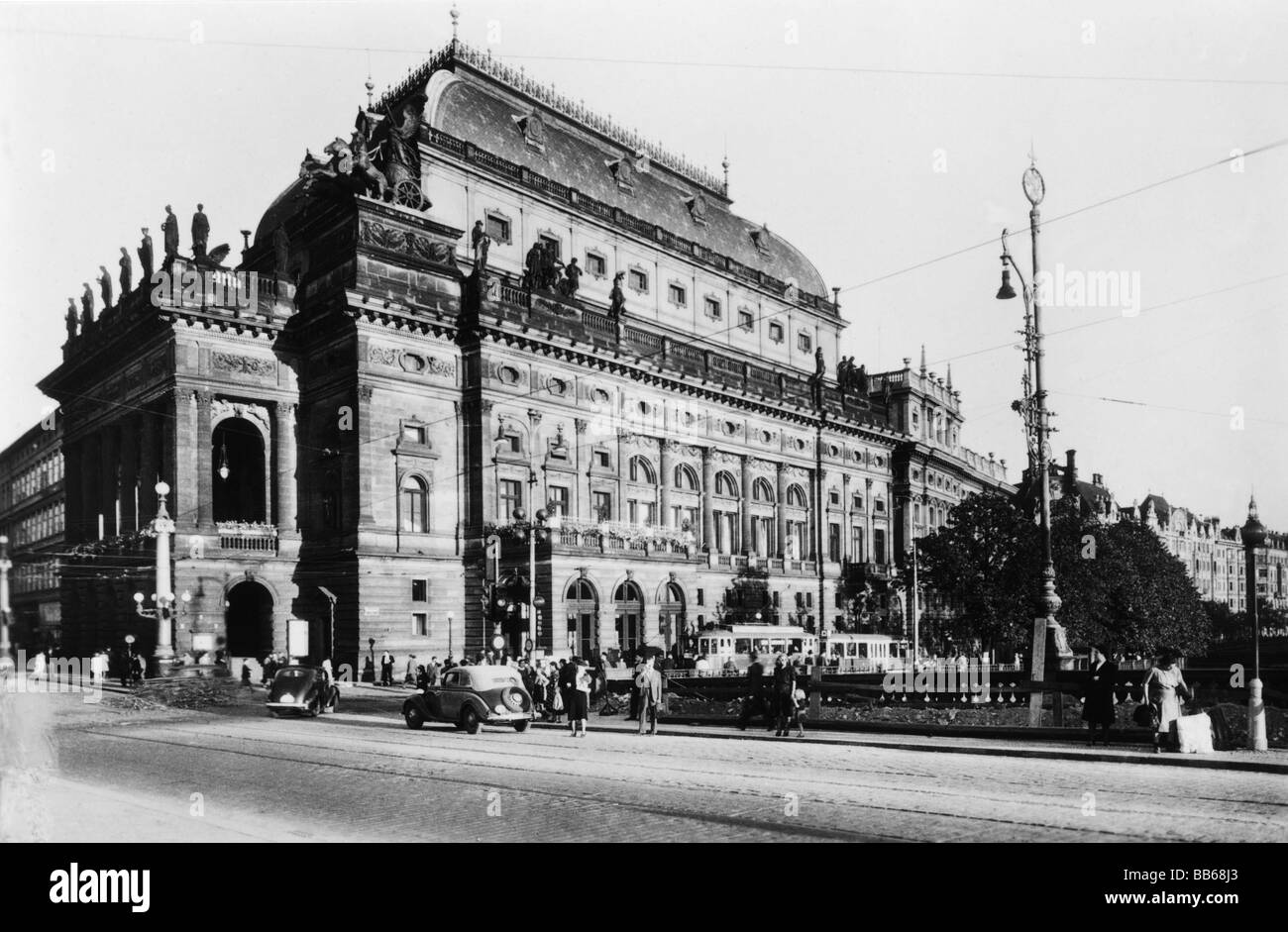 geography / travel, Czechoslovakia, Prague, theatre / theater, National Theatre, built: 1868 - 1881, exterior view, - Stock Image