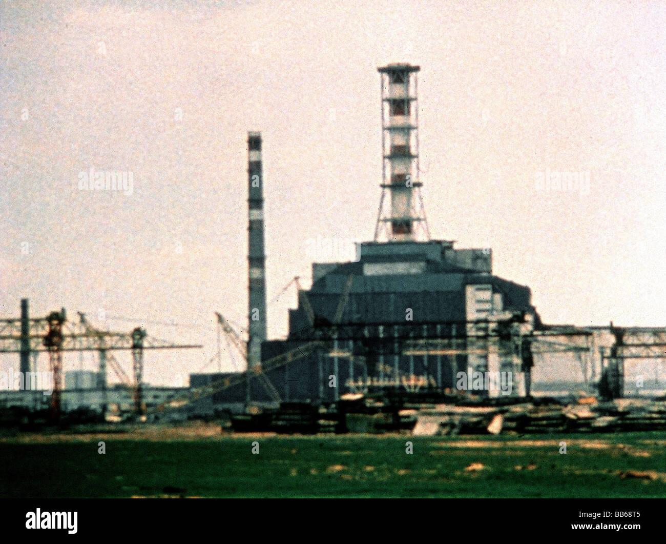 geography / travel, Ukraina, Chernobyl accident, April 1986, reactor, scene, documentary, 'Porog', 1988, - Stock Image