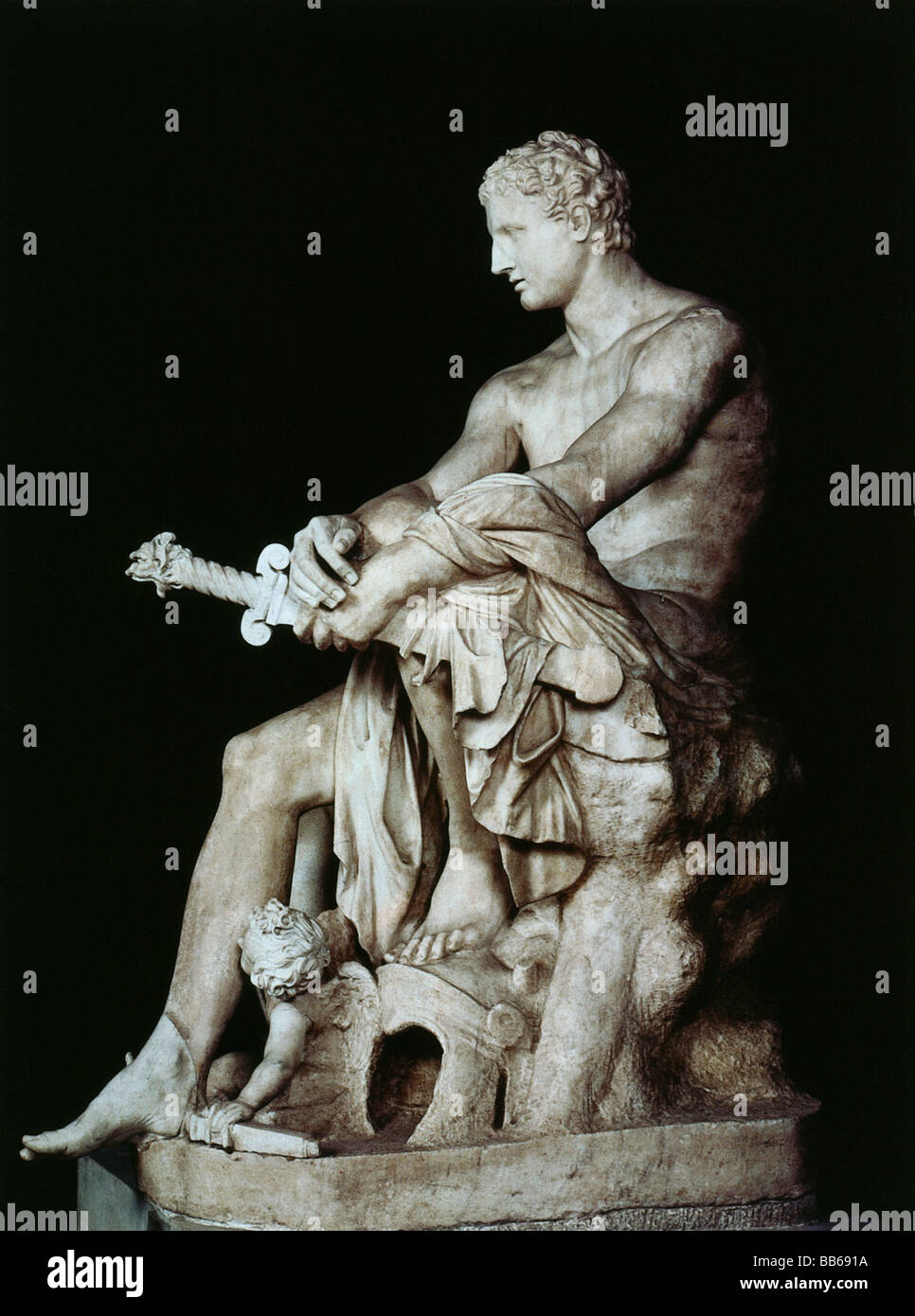Ares, Greek god of warfare, full length, statue, marble, Capitol Museum Rome, Ludovisi Collection, Additional-Rights - Stock Image