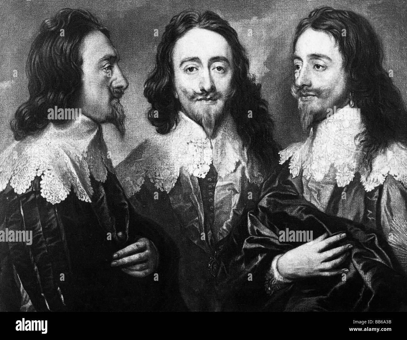 Charles I, 19.11.1600 - 30.1.1649, King of England 27.3..1625 - 30.1.1649, triple portrai, painting by Anthony van - Stock Image
