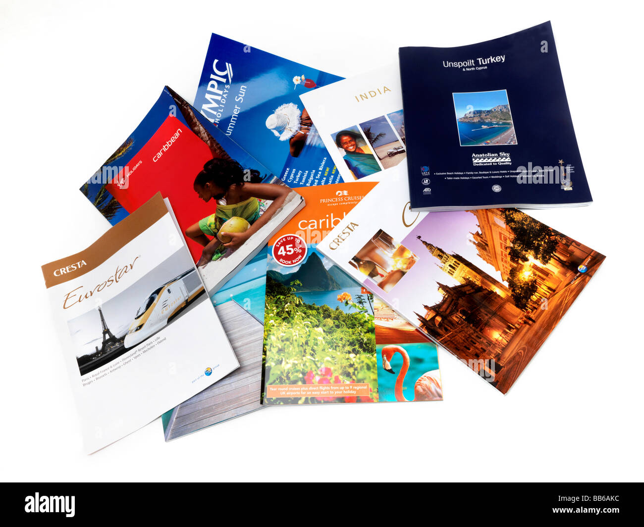 Selection of Travel Brochures Undated - Stock Image