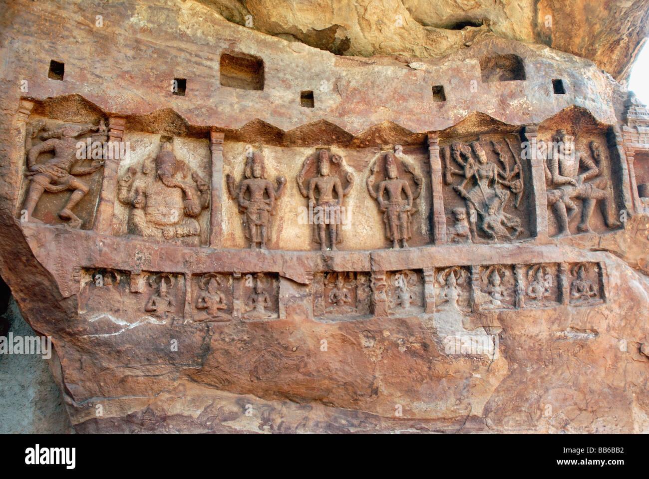 Badami - Karnataka, depiction of Gods and Goddesses on sandstone boulder near the lake-viz. Varaha, Ganesha, Brahma, - Stock Image