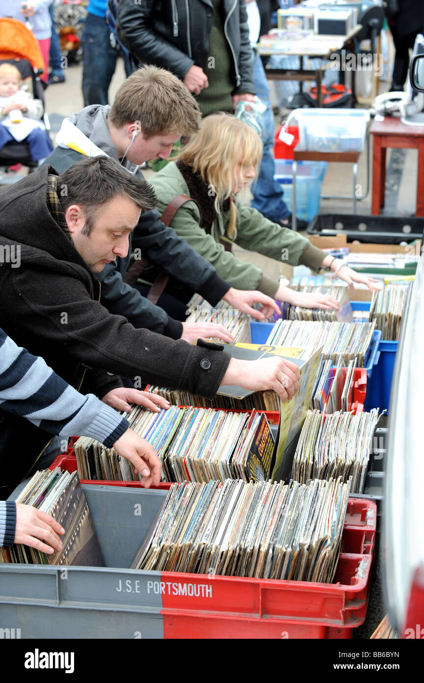shoppers look for a bargain at the brighton station car boot sale - Stock Image