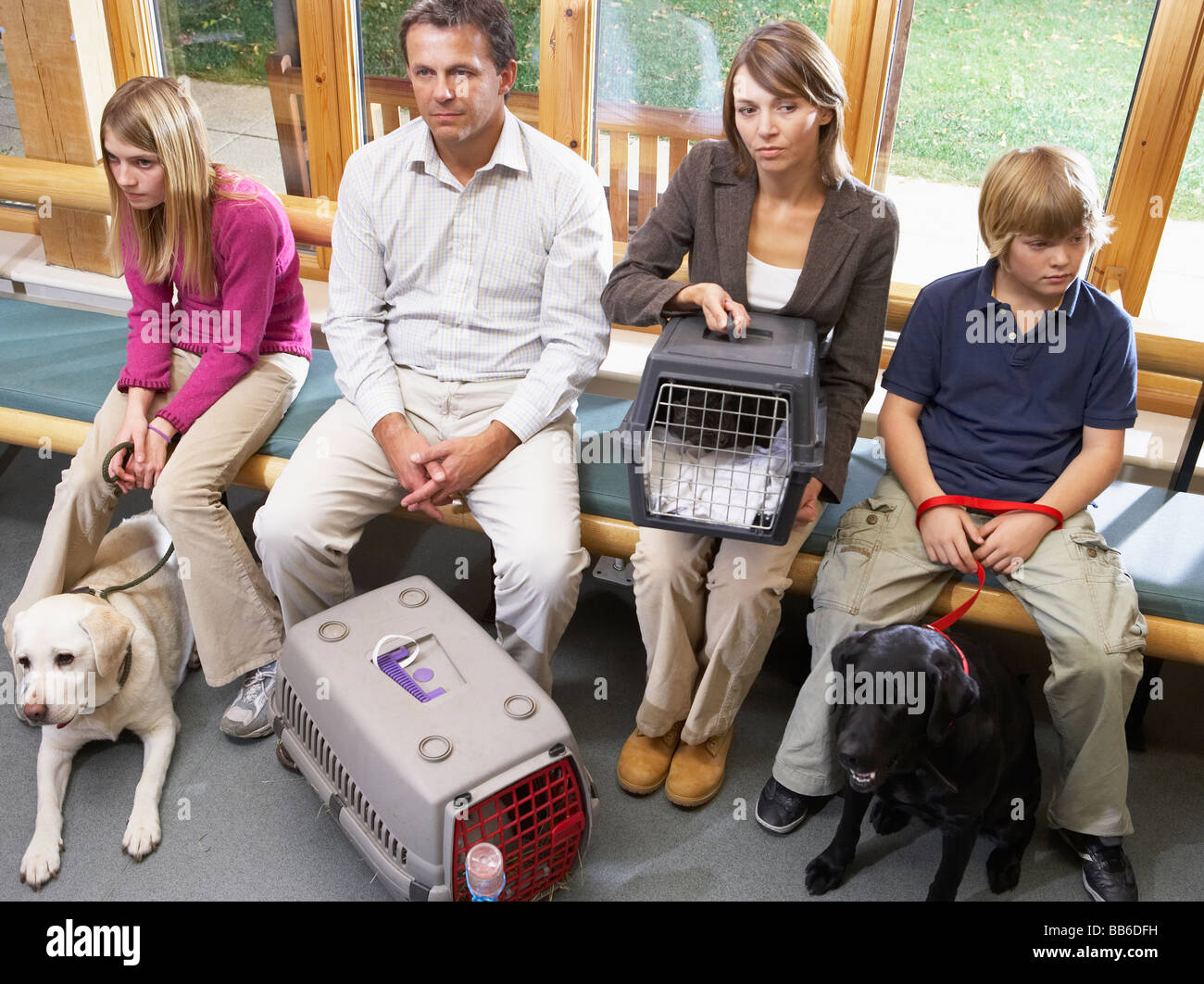 Owners Sitting In Vets Reception Area - Stock Image