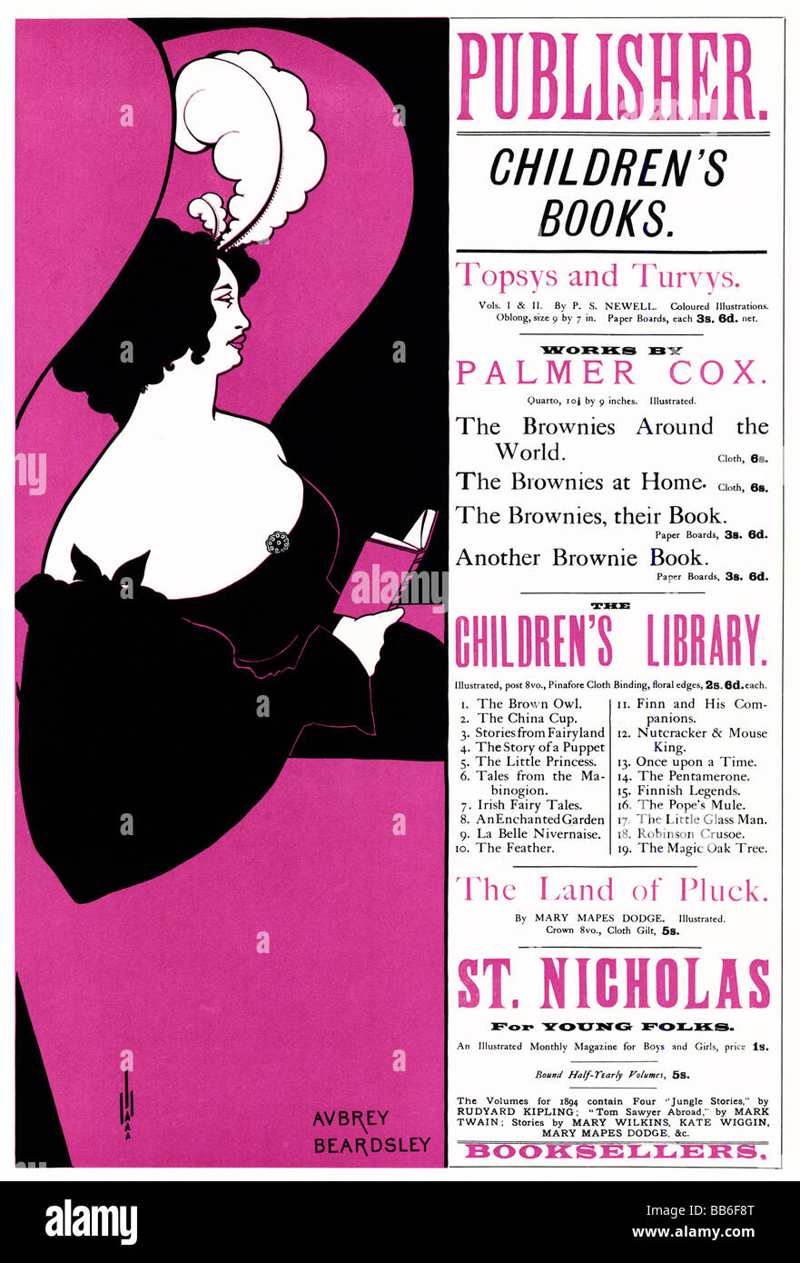 Childrens Books Aubrey Beardsley 1895 poster for the publishers Unwin and their selection of books for young people - Stock Image