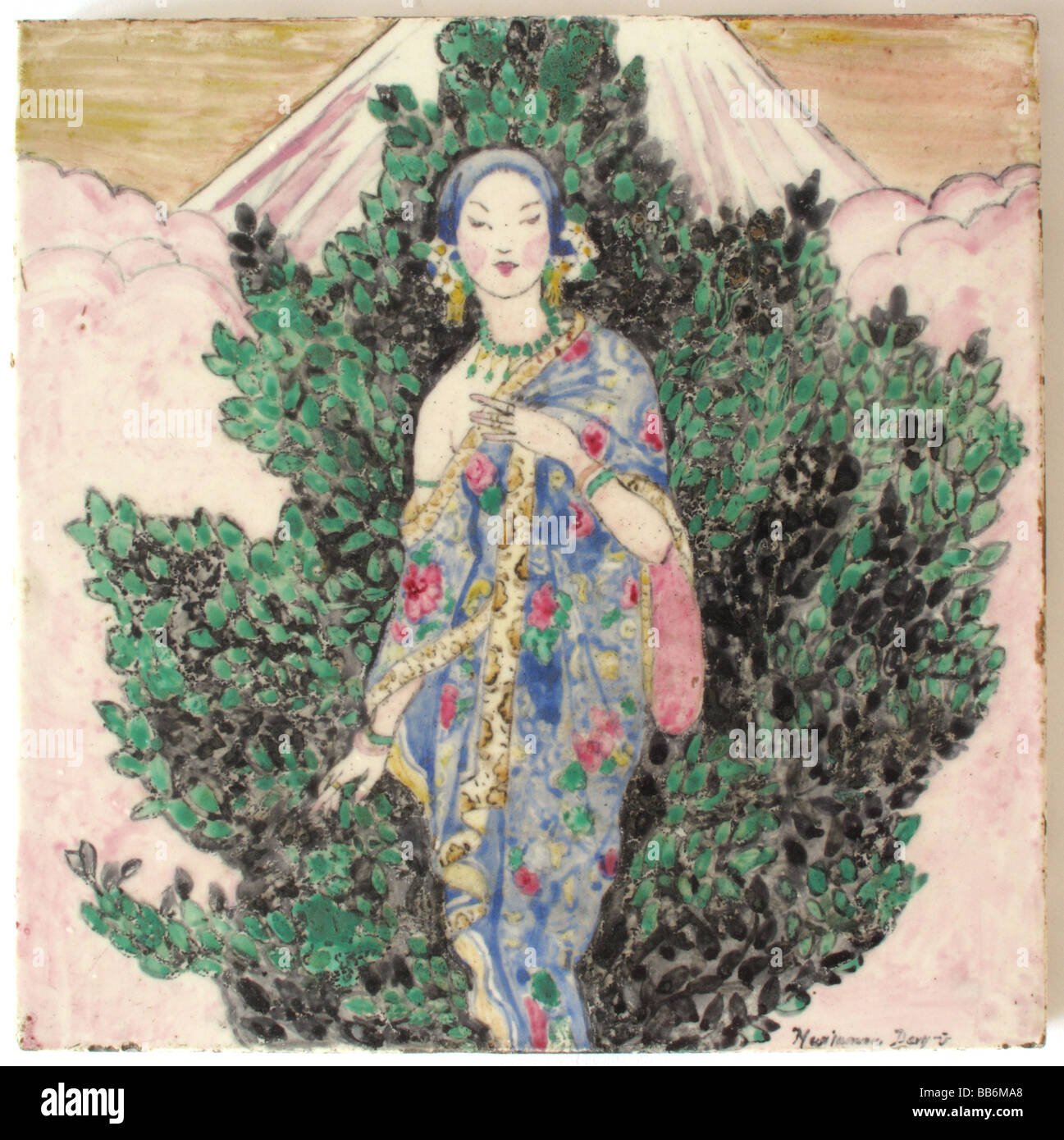English Art Deco Hand Painted Tile Of A Japanese Woman
