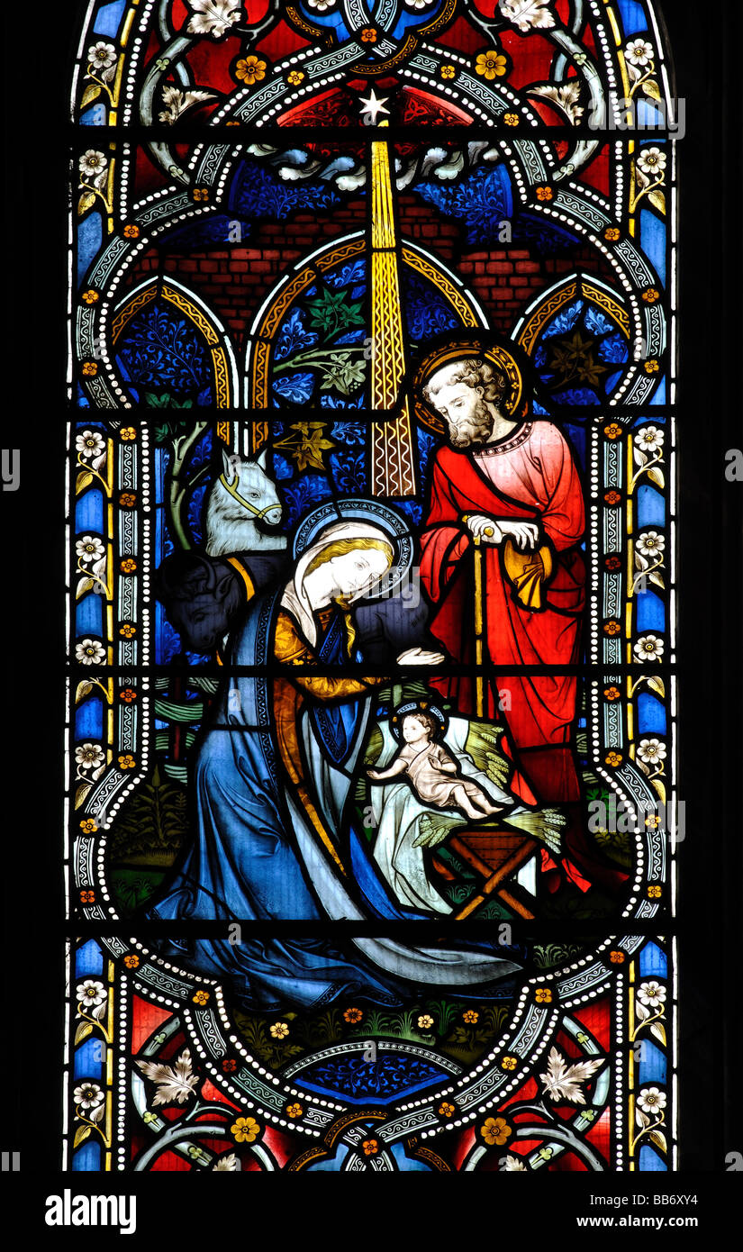 Nativity scene stained glass, St.Edith`s Church, Monks Kirby, Warwickshire, England, UK Stock Photo