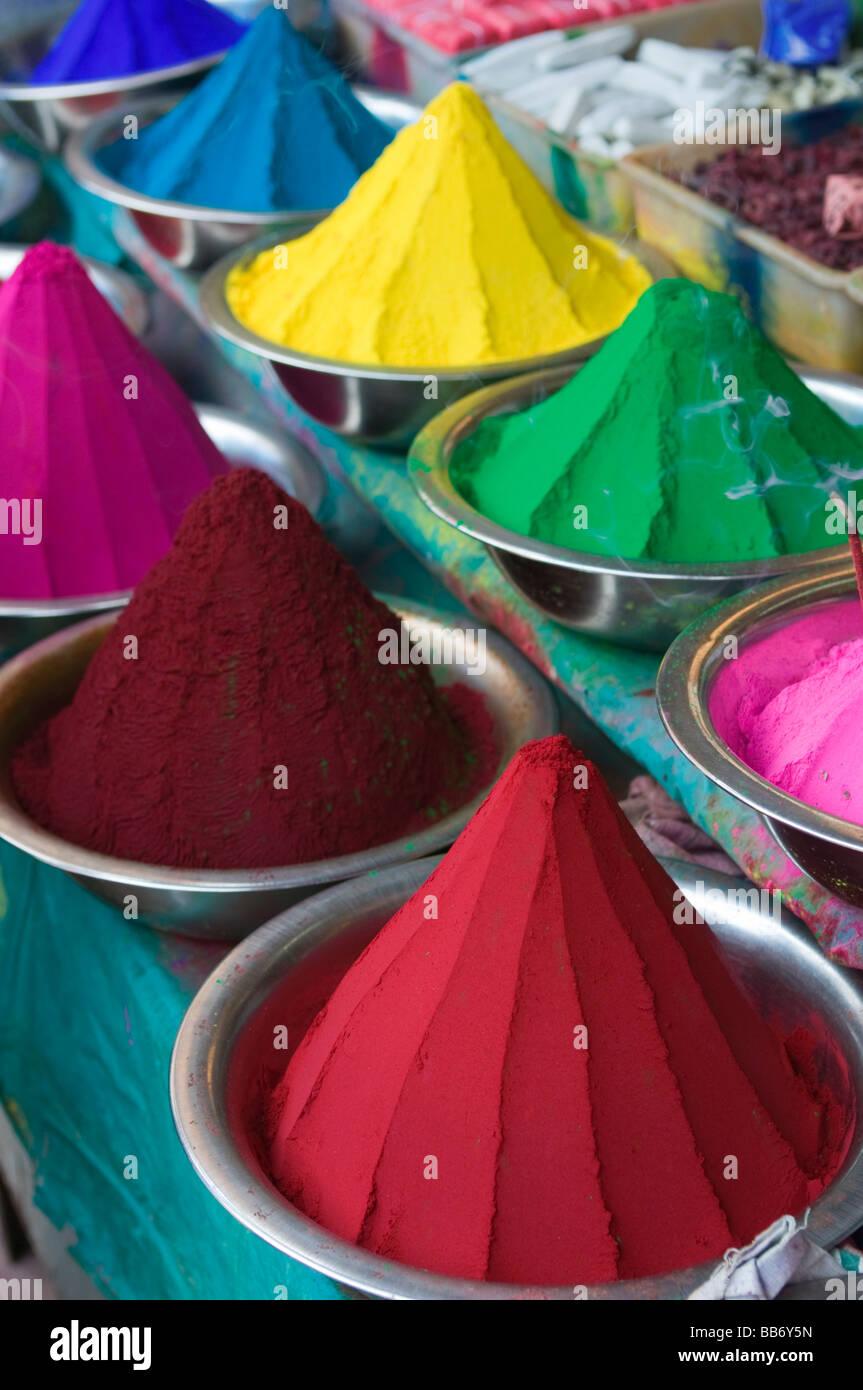 Coloured dye powders Devaraja Market Mysore Karnataka India - Stock Image