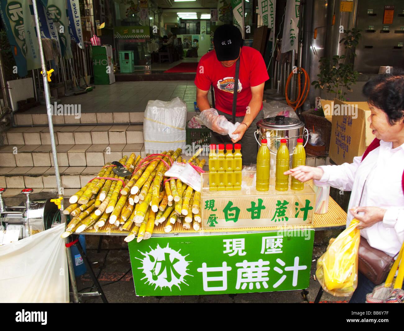 Sugar beet cane stall Taipei Taiwan - Stock Image