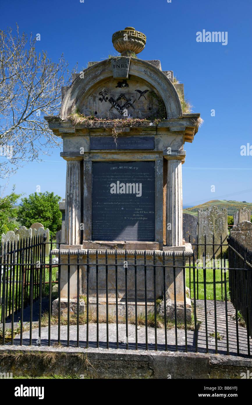 Irish poet James Orr memorial in Templecorran Cemetary Ballycarry county antrim northern ireland uk - Stock Image