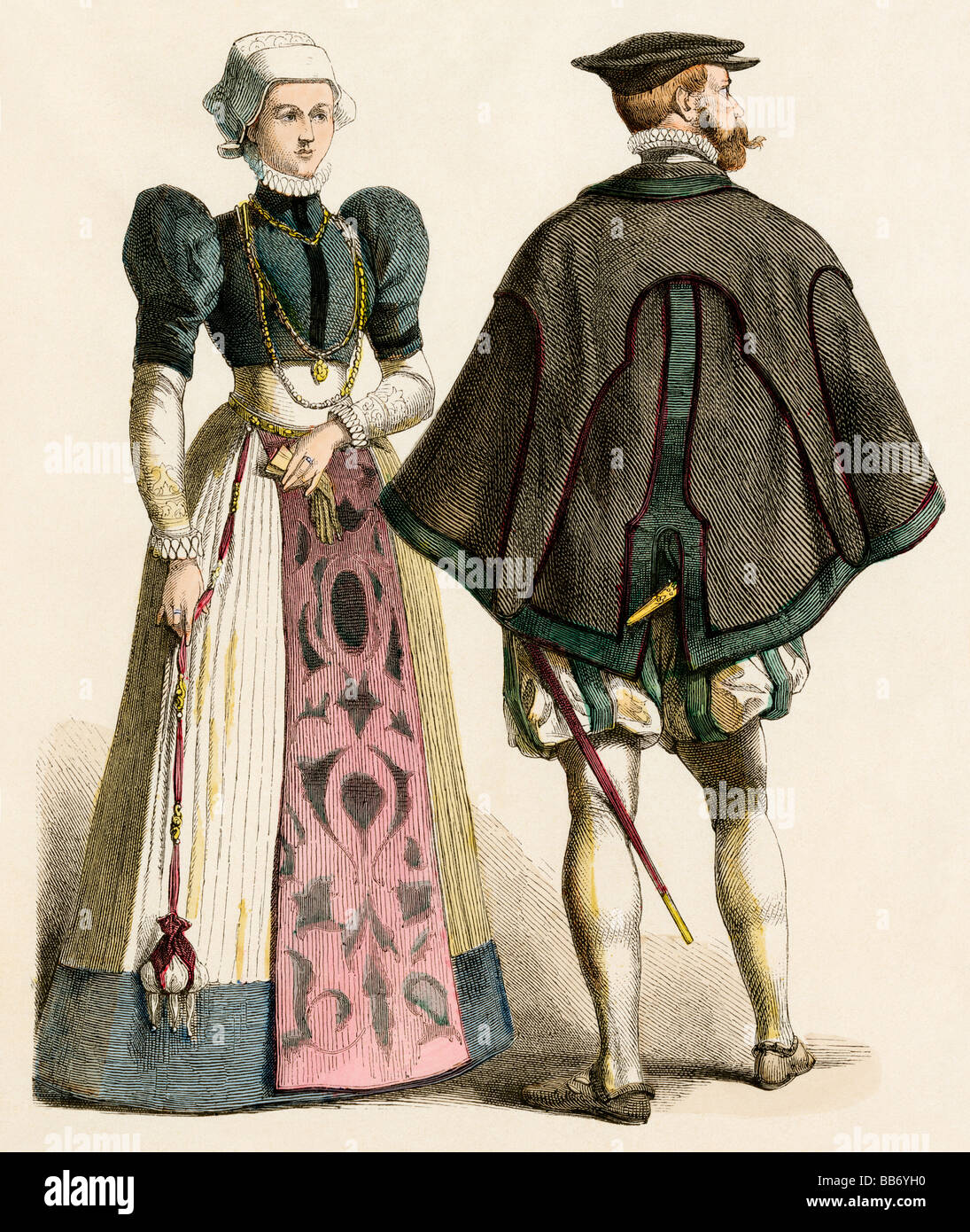 German citizens of the late 16th century. Hand-colored print - Stock Image