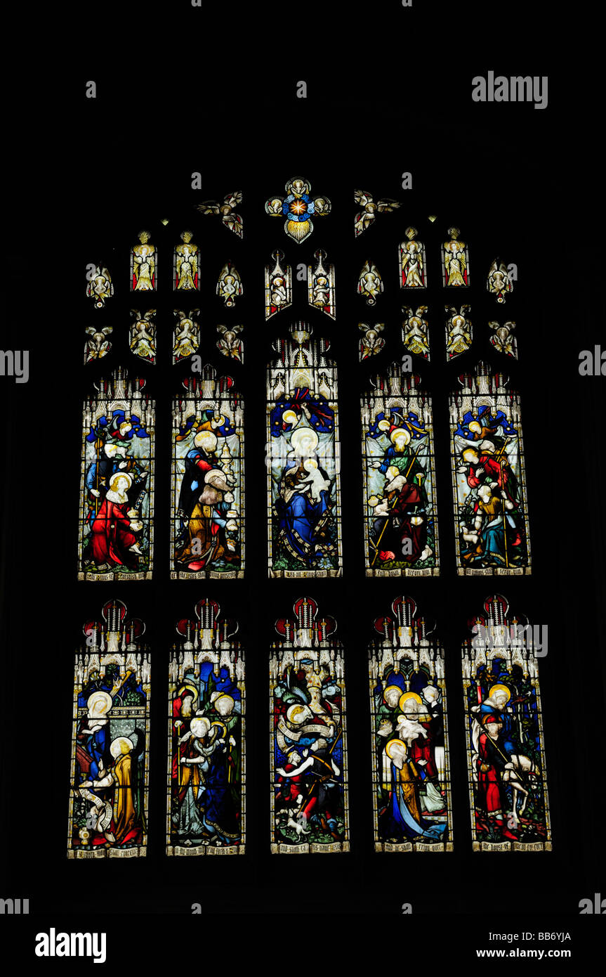 Stained Glass Window in Great St Mary's Church, Cambridge, England Uk - Stock Image
