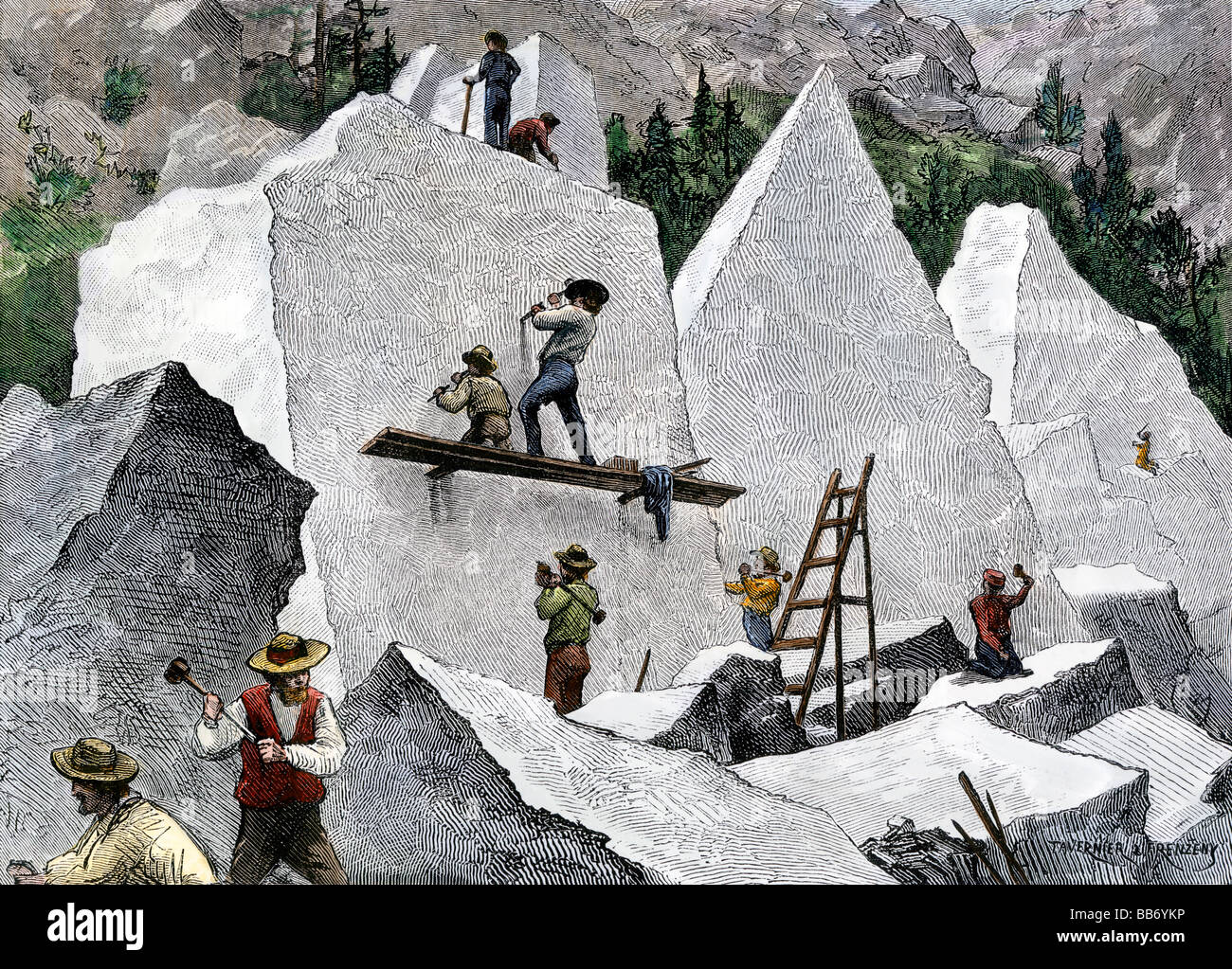 Quarrying stone for the Mormon Tabernacle in Salt Lake City Utah 1870s. Hand-colored woodcut - Stock Image