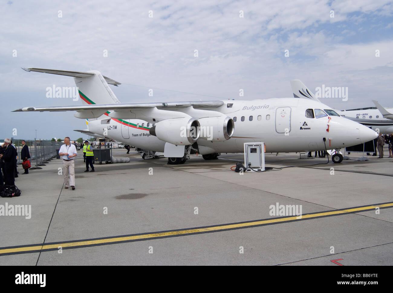 British Aerospace Avro RJ70 BAe Business Jet LZ-TIM at EBACE Aircraft Trade Show at Geneva Airport Switzerland - Stock Image