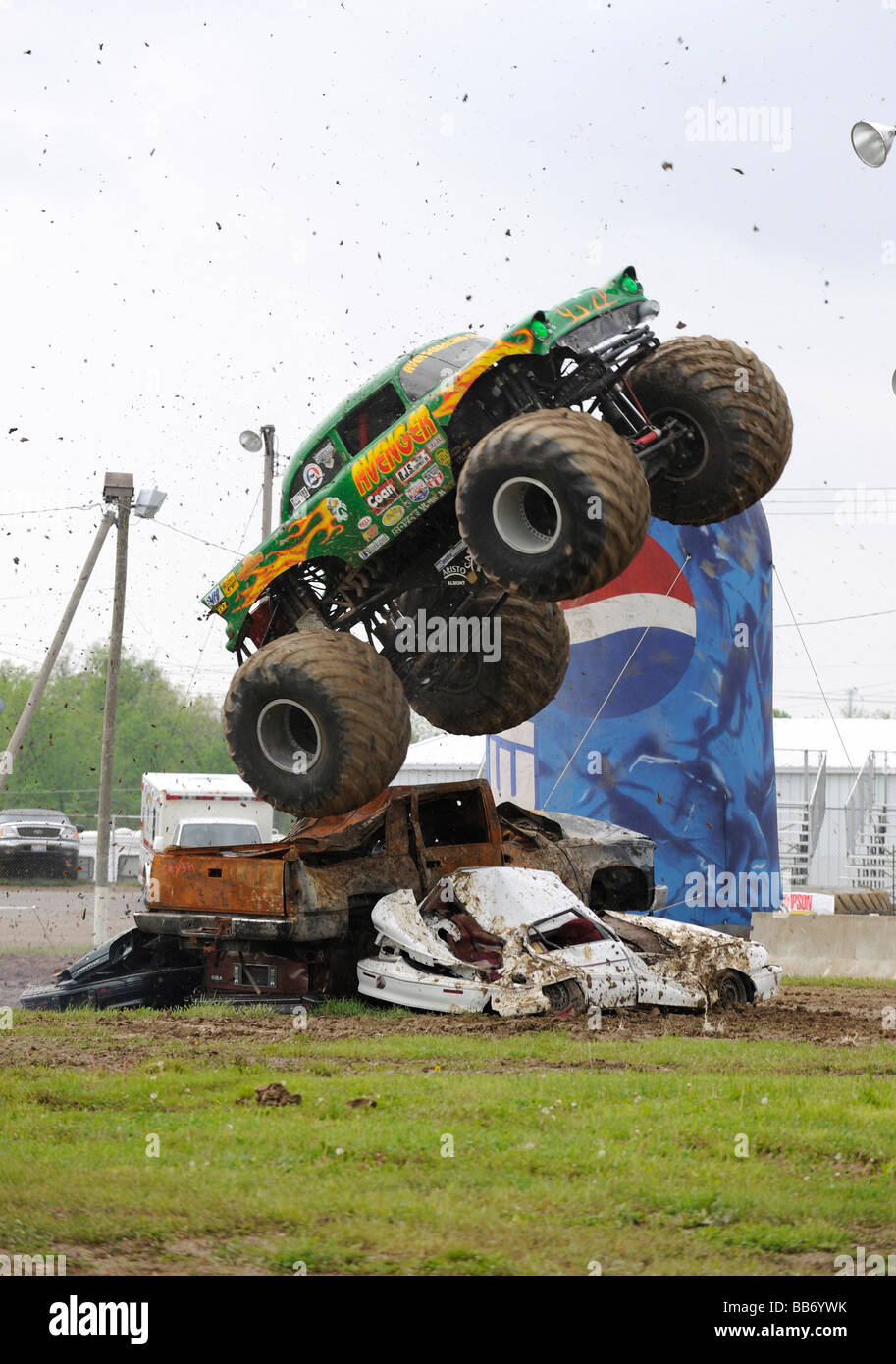 Avenger monster truck in freestyle competition at 4x4 Off-Road Jamboree Monster Truck Show - Stock Image
