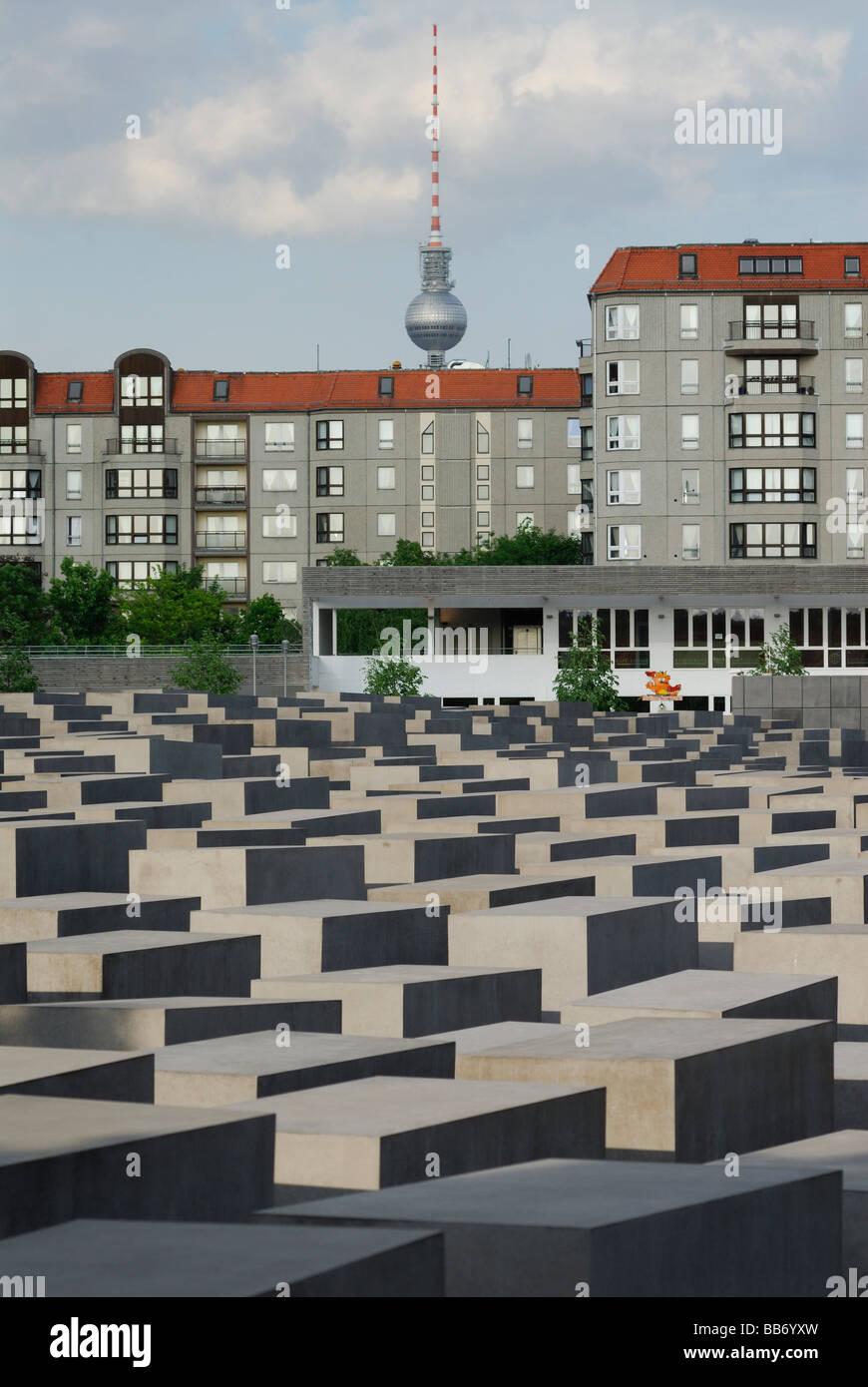 Berlin Germany Memorial to the Murdered Jews of Europe aka Holocaust Memorial Fernsehturm TV tower in background Stock Photo