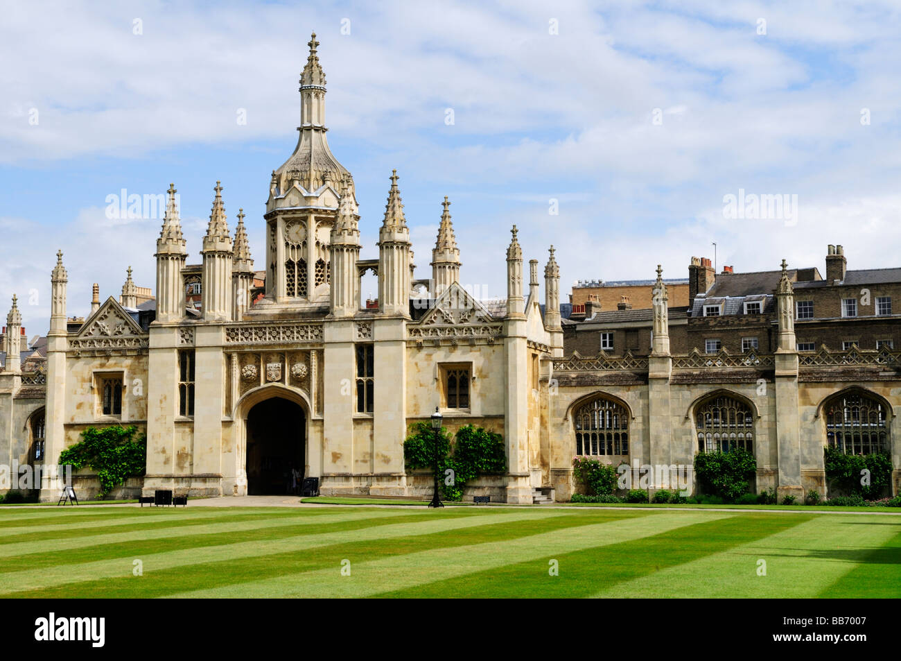 Kings College Gatehouse viewed from inside First Court, Kings College Cambridge England Uk - Stock Image
