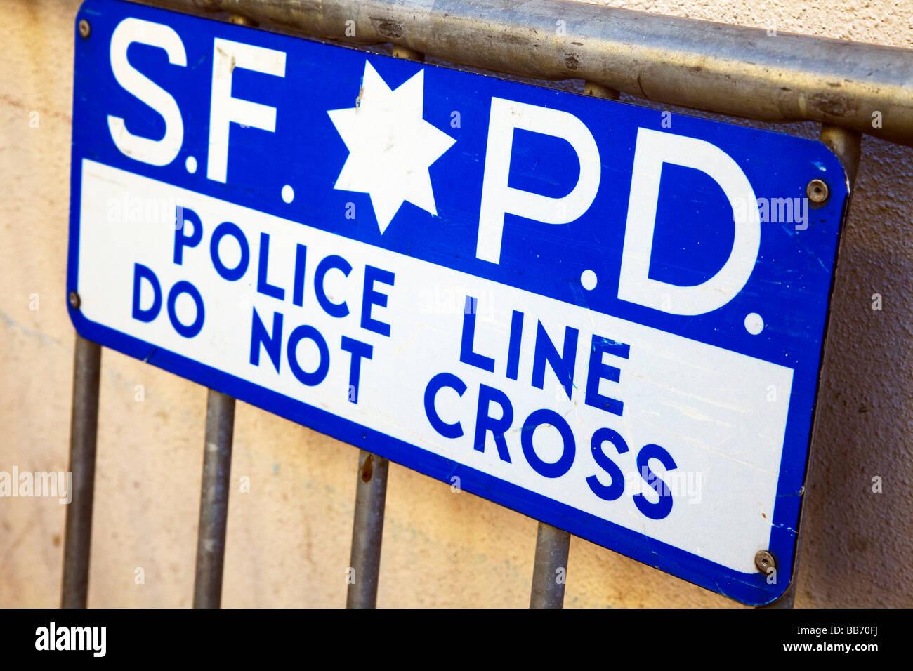 SFPD police line sign, San Francisco Police Dept - Stock Image
