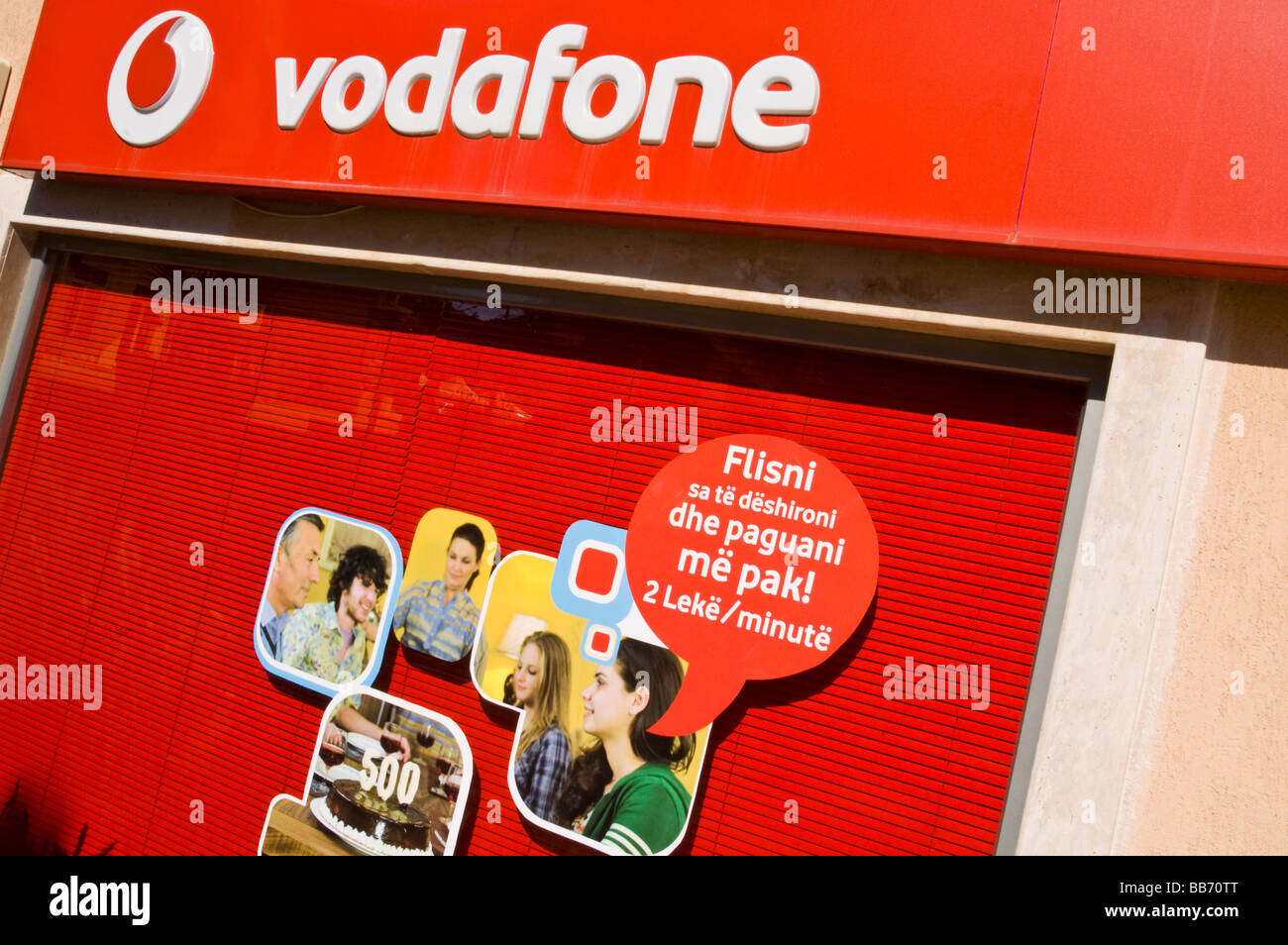 Vodafone retail store in city of Saranda Republic of Albania a tourist resort on the 'Albanian Riviera' - Stock Image