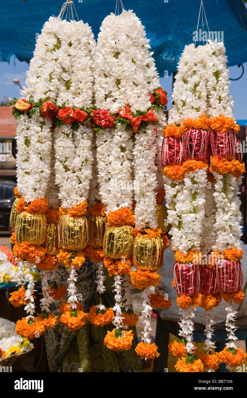 Flower garlands at Nanjangud Temple Mysore Karnataka India - Stock Image