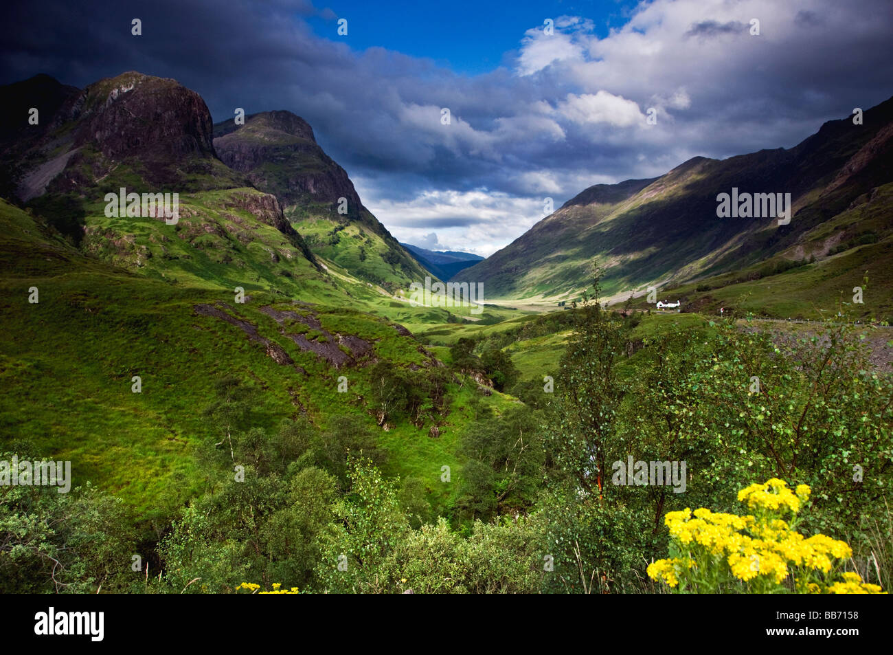 Looking towards the Three Sisters peaks in Glencoe in the Scottish Highlands - Stock Image