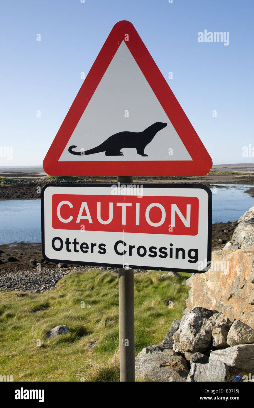 Caution Otter Crossing sign , South Uist, Western Isles, Scotland - Stock Image