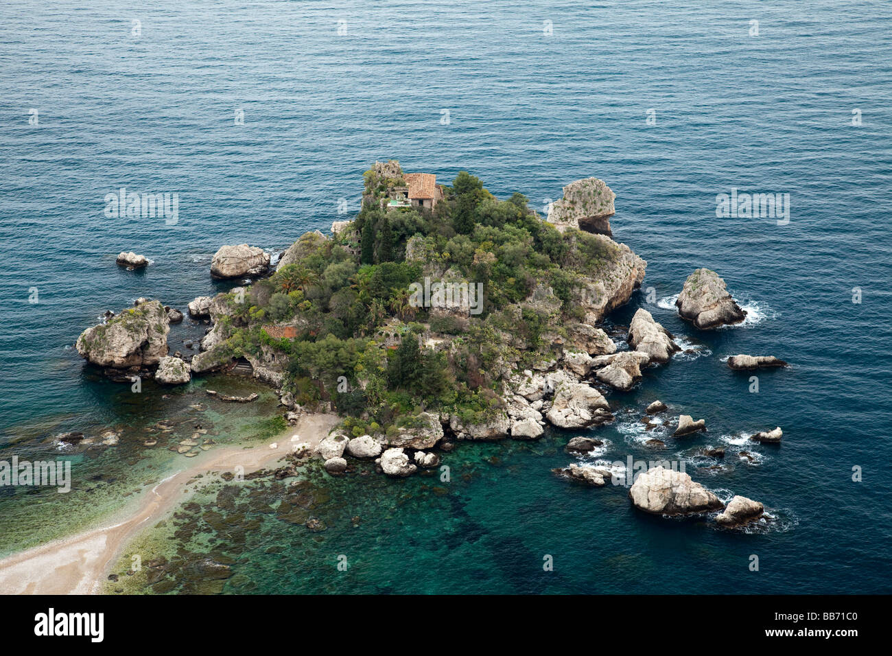 An aerial view of the island of Isola Bella, at the old medieval town of Taormina, Sicily, Italy. Stock Photo