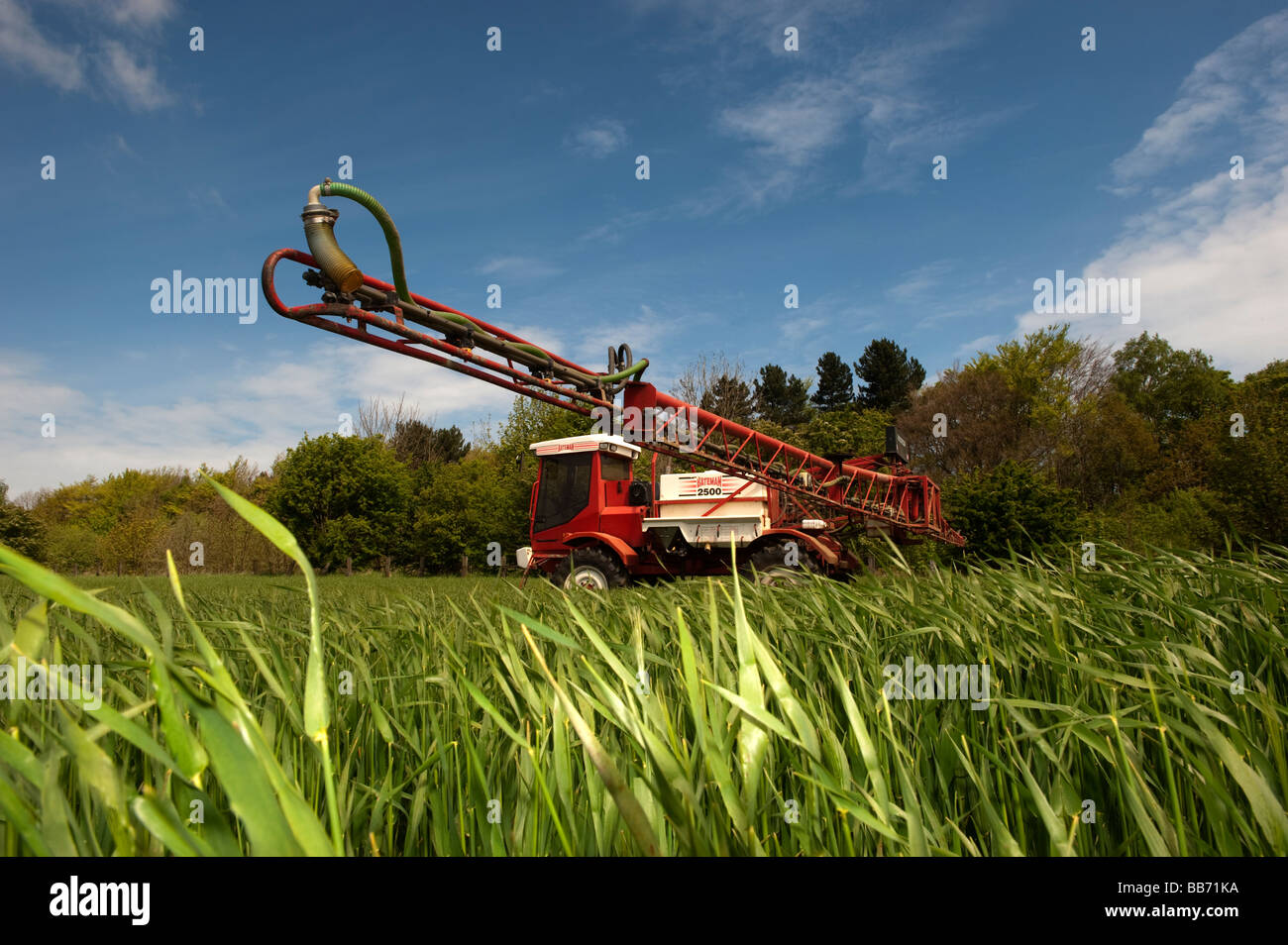 Bateman self propelled sprayer getting ready to spray wheat crop with a fungicide Durham - Stock Image