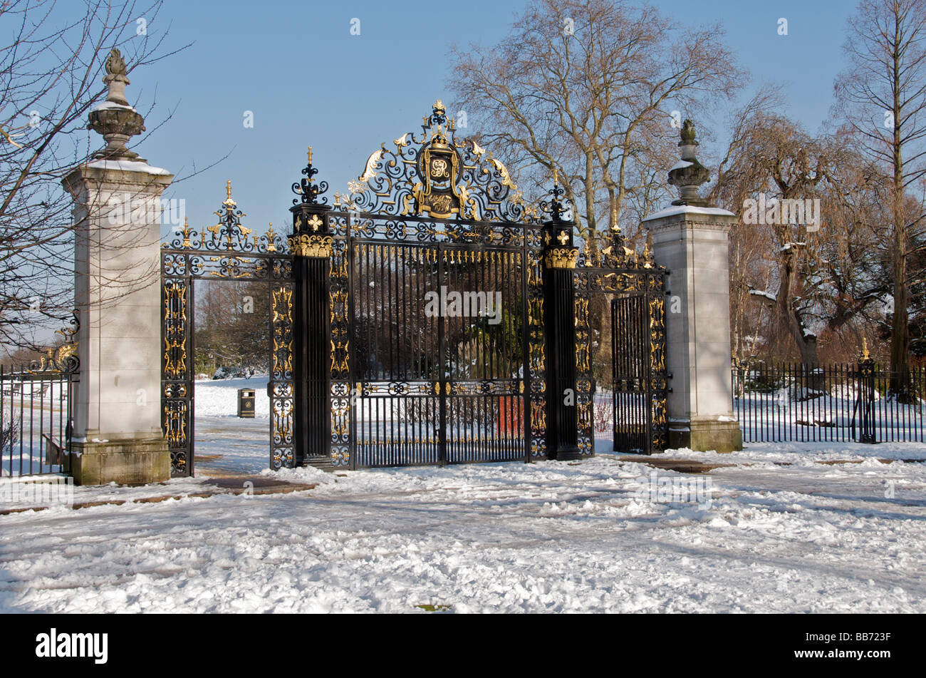 Jubilee Gate in winter entrance to Queen Mary's Garden Inner Circle Regents Park London England UK - Stock Image