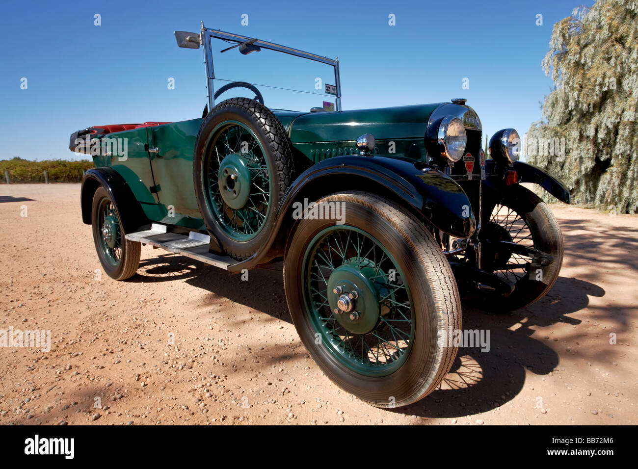 Historic Singer automobiles on a weekend meet at Renmark in the Riverland, South Australia - Stock Image