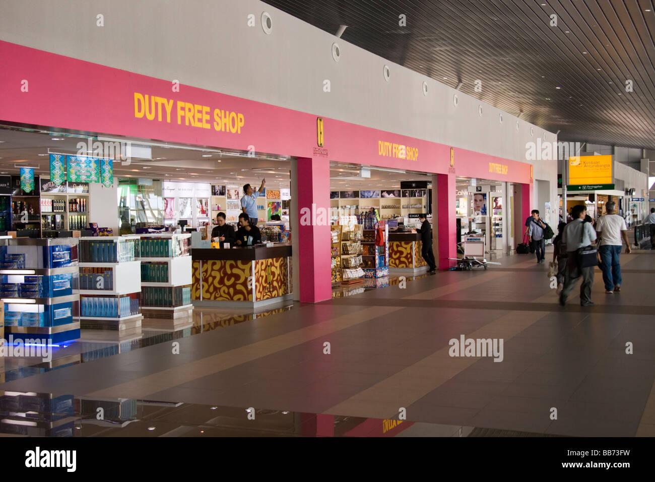 Duty Free shop Kota Kinabalu Airport interior - Stock Image