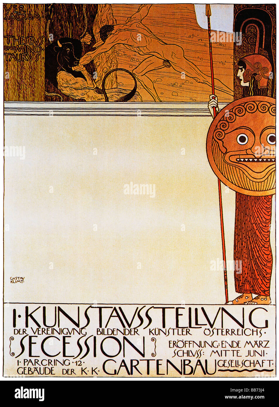 Gustav Klimt Theseus and the Minotaur 1898 Art Nouveau poster for the first Vienna Secession exhibition - Stock Image