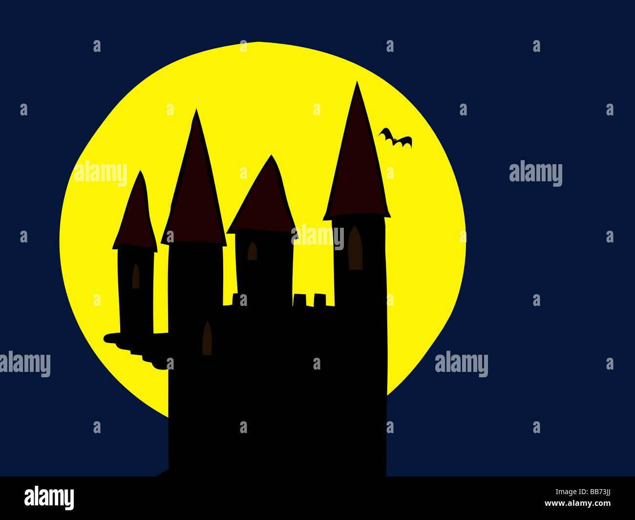 Illustration of the old haunted castle in the moonlight - Stock Image
