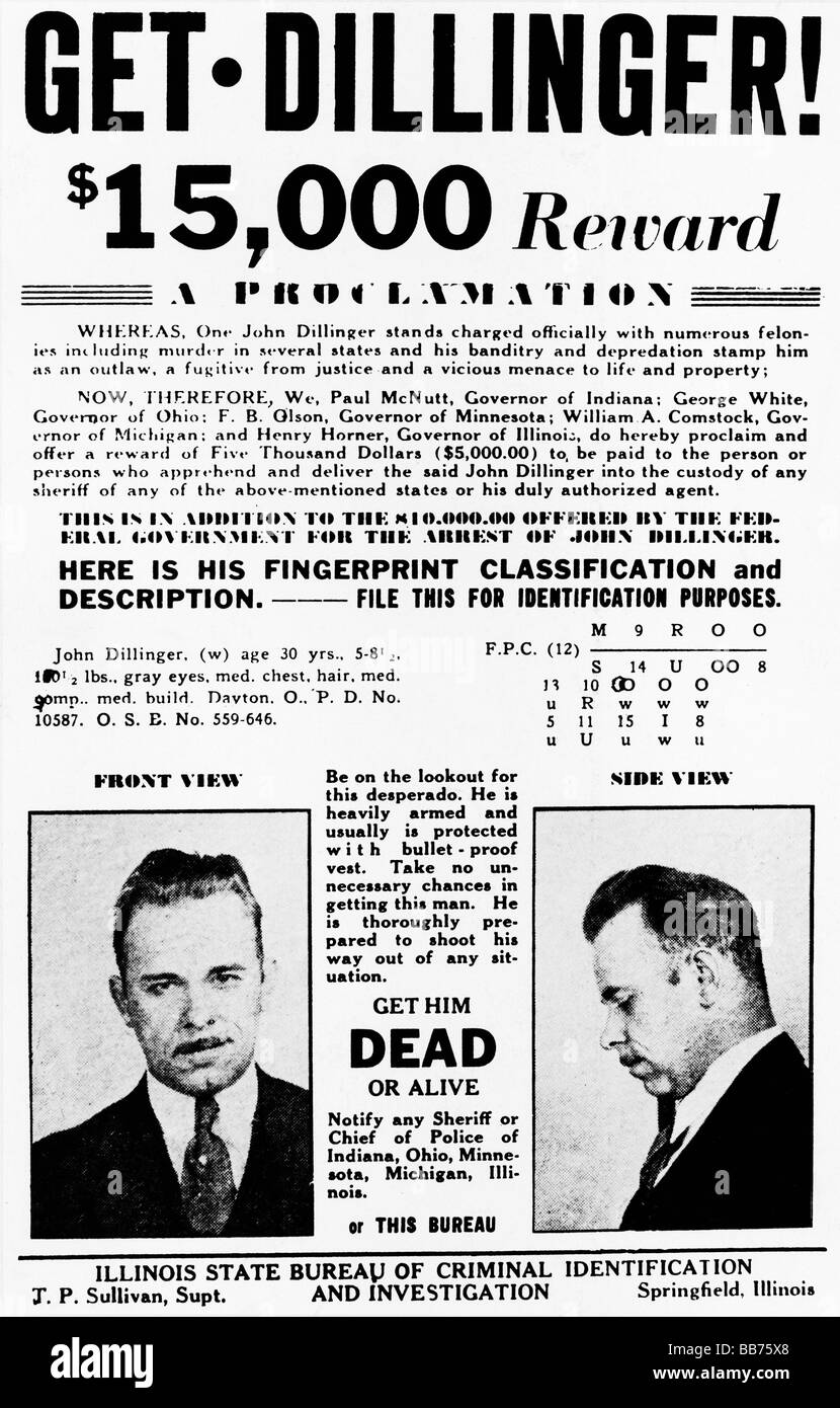 Get Dillinger 1933 Wanted poster for the notorious criminal and Americas Public Enemy Number One - Stock Image