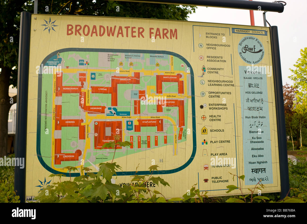 Map Of North London Uk.Map Signage At The Entrance To Broadwater Farm Council Estate In