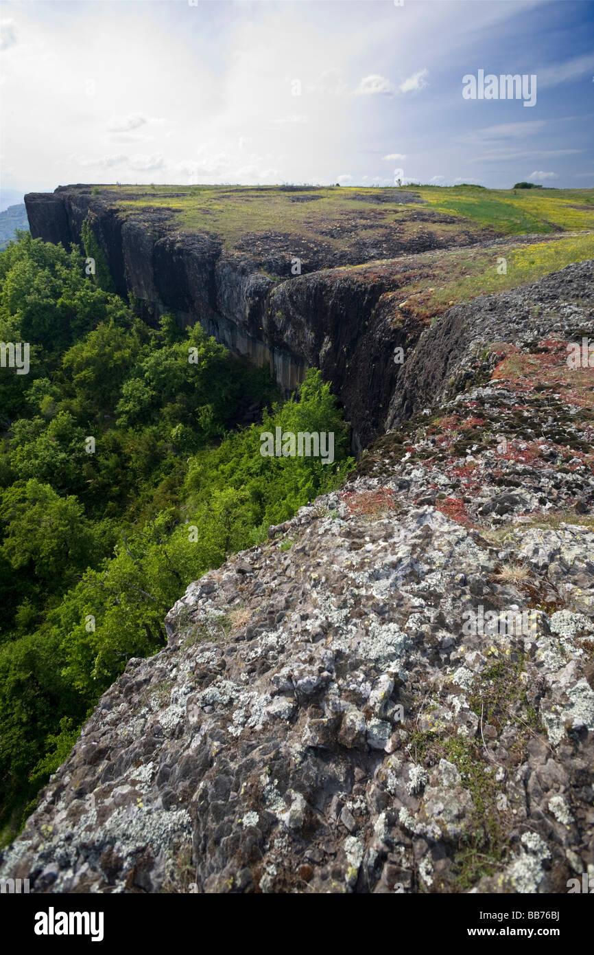 The Coiron basalt Plateau, in the Ardeche (Rhône-Alpes - France). Plateau basaltique du Coiron en Ardèche - Stock Image