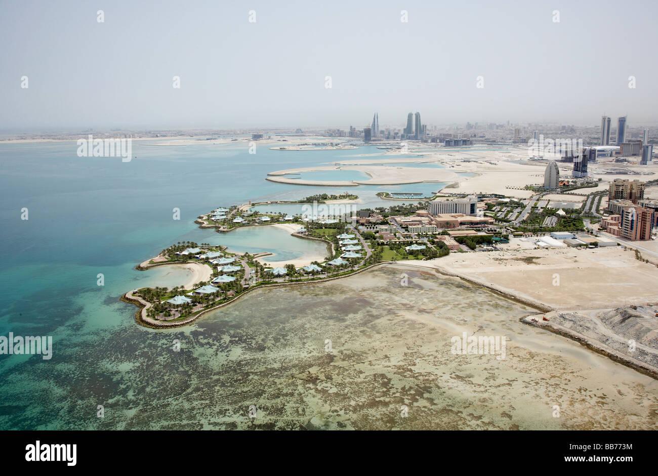 Aerial photograph of the Ritz Carlton Hotel and resort Manama Bahrain - Stock Image