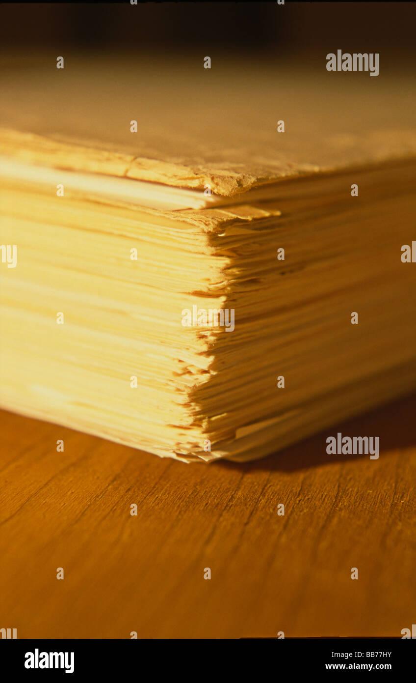 bundle of papers,legajo de documentos Stock Photo